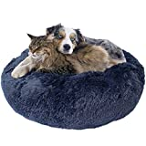 Downtown Pet Supply Premium Donut Dog Bed, Cozy Poof Style Giant Pet Bed Great for Cats & Dogs - Orthopedic, Washable, Durable Dog Bed (Navy Blue, Small)