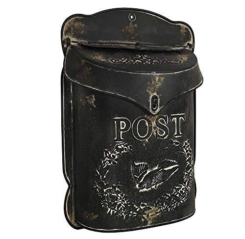 zeitzone Briefkasten Post Zink schwarz Postkasten mit Brieftaube Vintage Landhausstil