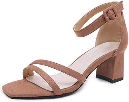 Les Les dames Femmes Bas Mi Talon Bloc Peep Orteil Boucle Cheville Sangle Partie Sandales à Lanières Chaussures Taille