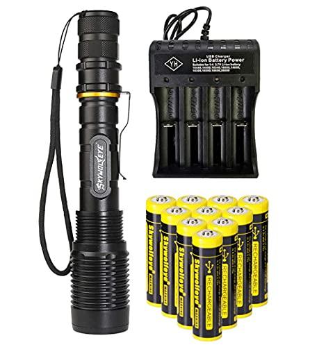 Linterna de 2000 lúmenes 18650, con zoom, 5 modos de luz, resistente al agua, con 10 pilas de ion de litio de 3,7 V 18650, con tira de botones y cargador USB de 4 puertos para camping, senderismo