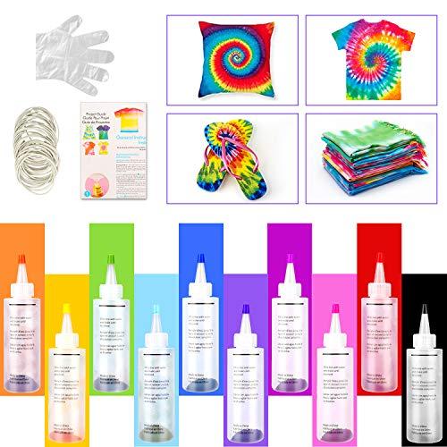 Tie Dye Kit, 10 Lebendige Farben Textilfarben, mit 40 Stück Gummi Band,8 Stück Handschutzfolie, Permanente One-Step Tie Dye Art Set für Kinder, Erwachsene, Mode DIY Textilsprühfarbe Set