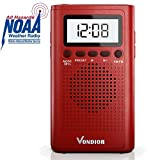 NOAA Weather Radio - Emergency Digital Radio WB/AM/FM - Alert Mode - Portable Radio with Best Reception and Longest Lasting Transistor. Powered by 2 AAA Battery with Mono Headphone Socket, by Vondior