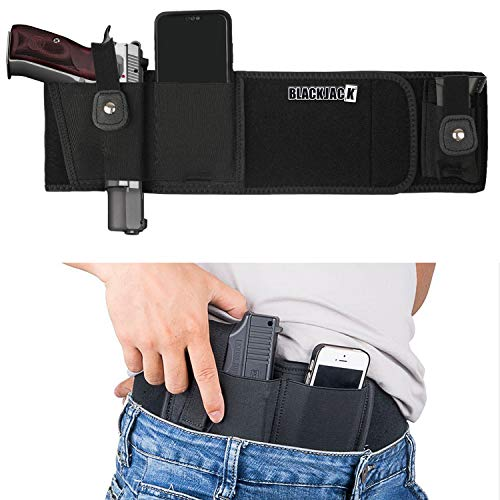 Ultimate Belly Band Holster, Concealed Carry Fit for Glock, Ruger, CCW, S&W M&P, Shield Bodyguard Sig Sauer, OWB IWB Carry Holster for Women & Men (Black)
