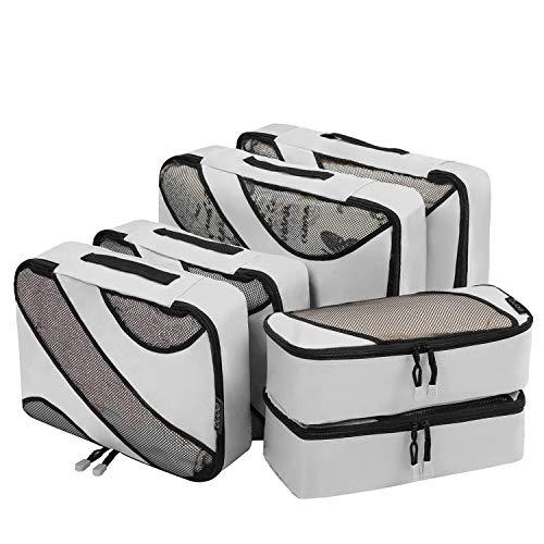 Eono by Amazon - 6 Teilige Kleidertaschen, Packing Cubes, Verpackungswürfel, Packtaschen Set für Urlaub und Reisen, Kofferorganizer Reise Würfel, Ordnungssystem für Koffer, Packwürfel, Grau