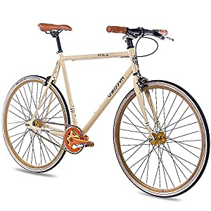 CHRISSON 28 Zoll Fixie Singlespeed Retro Fahrrad FG Flat 1.0 Ivory Coast - Urban Old School Fixed Gear Bike für Damen und Herren