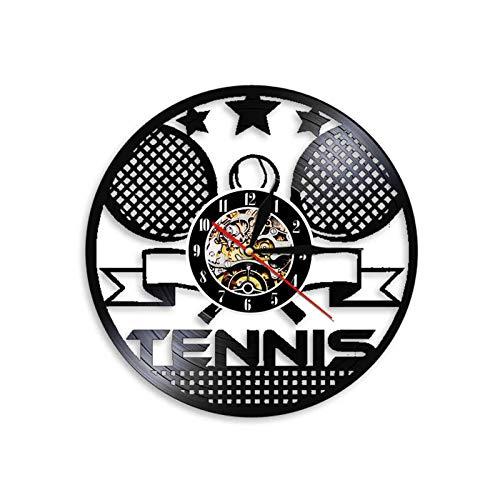 TANCEQI Reloj de Vinilo Raqueta de Tenis Discos de Vinilo Decoraciones de Pared Hechas a Mano Regalo Vintage para Hombres y Mujeres Enamorados de Deportes,Without Light