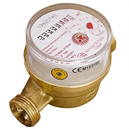Schütz Warmwasserzähler Einstrahl Nenndurchfluss Qn 1,5, Anschluss 3/4 Zoll, Baulänge 110 mm Eichung 2020 gültig bis 2025 Aufputzwasserzähler