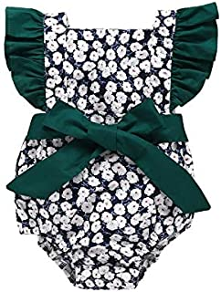Xiaofei Sleeve Bow Tie Triangle Jumpsuit High Quality (Color : Green, Size : 90)