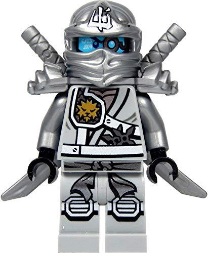 LEGO Ninjago Minifigur Titanium Zane (silberner Ninja) mit Schulterrüstung, Zwei Katanas (Schwerter) und Saigabeln NEUHEIT 2015