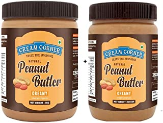 CREAM CORNER Peanut Butter Combo Creamy + Creamy Spread All Natural High Protein Nut Butter Healthy Snack_(1Kg+500g)
