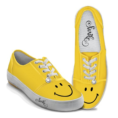 Bradford Exchange Yellow Smile Women's Canvas Shoes by The 8 M US Women