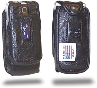 Turtleback Fitted Case Made for Motorola W385 Phone Black Leather Rotating Removable Belt Clip Made in USA
