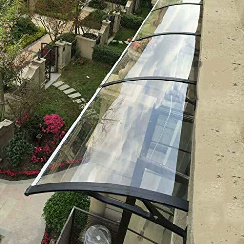 Überdachte Gartentür mit Überdachung, transparente Türüberdachung, Halterung aus schwarzem Kunststoffstahl, für Hausfassaden geeignet - Größenauswahl