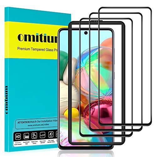 omitium Full Screen Panzerglas für Samsung Galaxy A71, [3 Stück] Samsung Galaxy A71 Schutzfolie [mit Positionierhilfe] Panzerglasfolie 9H Festigkeit Anti-Kratzen Bildschirmschutzfolie Samsung A71 Folie