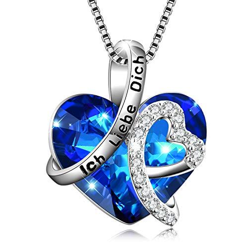 """Kette Herz Sterling Silber""""Ich liebe dich für immer"""" Halskette Damen Anhänger mit Geburtsstein Kristallen (Ich Liebe Dich)"""
