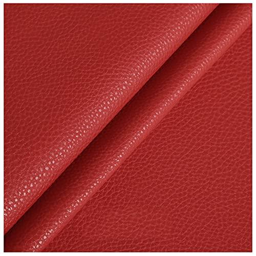 NIUFHW Cuero sintético rojo imitación piel artesanía tela por la yarda artificial pu cuero 1.38m* 1m decoración sofá suave bolsa tela DIY manualidades