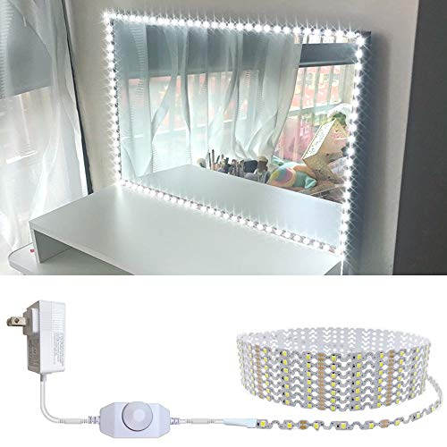 13ft/4M Led Vanity Mirror Lights Kit Bendable NO NEED TO CUT Vanity Make-up Mirror Cloakroom Adjustable Flexible Strip Light Table Set with Dimmer and Power Supply Mirror Not Included