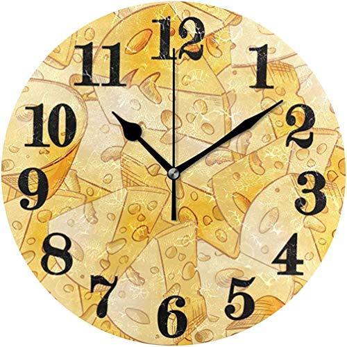 Reloj de pared redondo de cuarzo con diseño de rodajas de queso amarillo clásico, funciona con pilas, 9.84 pulgadas