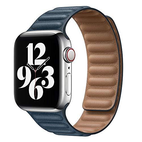LLMXFC Enlace de Cuero para la Banda de Reloj de Apple 44mm 40mm 38mm 42mm Watch Band Band Magnetic Loop Pulsera para iWatch Seires 5 4 SE 6 Correa