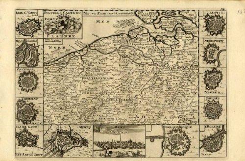 Antiguo ThePrintsCollector mapa de Flandes de Bélgica-Países bajos-Weege-1753