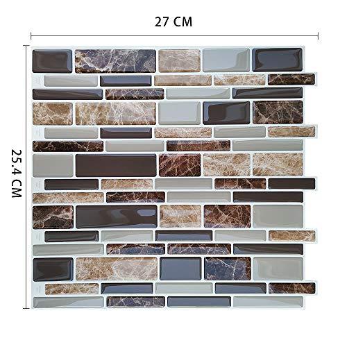 Byrhgood 10 unids Peel and Stick Impermeable Auto Adhesivo Mosaico Mosaico Cocina Azulejo Tile Etiqueta (Color : MSOB 028)