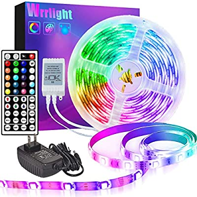 LED Strip Lights 32.8ft, Wrrlight RGB LED Light Strip 300 LEDs SMD 5050 IP65 Waterproof Rope Lights Color Changing Flexible Tape Light Kit with 44 Key Remote Controller & 12V 5A Power Supply