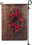 Victoriay Christmas Garden Flag, Advent Christmas Wreath Wooden Door Decoration 12x18 Inch Outdoor Seasonal Flags Double Sided Weather Resistant for Garden Yard House Decorations,Advent Christmas
