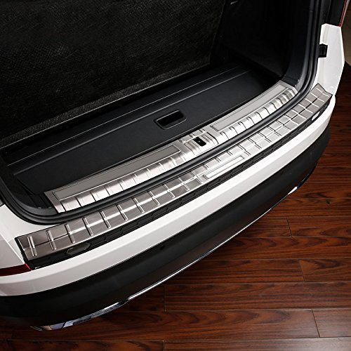 Protection de seuil de pare-chocs arrière intérieur extérieur en acier inoxydable + 3 pcs