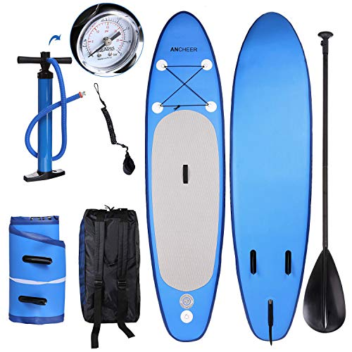 YUEBO 305cm Aufblasbares Sup Stand-up Paddel Board 15cm Dick, iSUP Paddle Board mit Pumpe + 3-TLG verstellbares Paddle + Fuß Spuleleine + Großer Rucksack (DA01_blau_305 x 76 x 15cm)