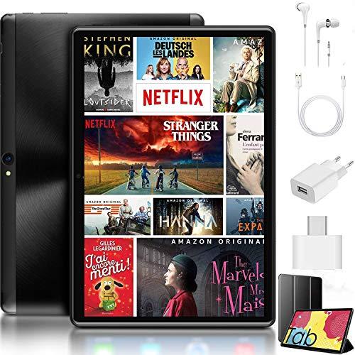 Tablet 10 Pulgadas, 4GB de RAM y 64 GB de ROM 4G LTE, Android 9.0 Pie Google GMS Dual SIM y TF, GPS WiFi Soporte Type-C 8000mAh Quad-Core 64 bit procesador Tableta (Negro)