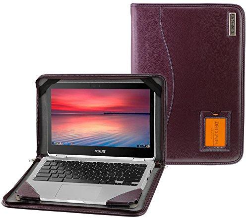 Broonel - Contour Series - Cuir végétalien Violet Housse de protection compatible avec Asus Chromebook Flip C302CA