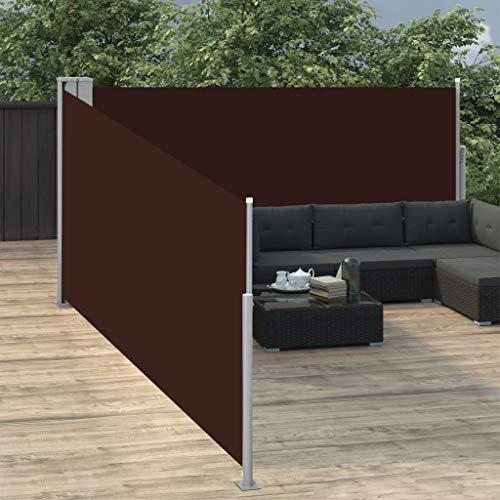 Festnight Ausziehbare Seitenmarkise Balkon Garten Terrasse Seitenmarkise Zertifiziert Sonnenschutz Sichtschutz Braun 100 x 1000 cm