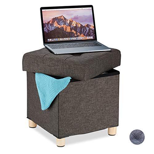 Relaxdays Sitzhocker mit Stauraum, weich gepolstert, gesteppt, Stoffbezug, Sitzwürfel, HxBxT: 39 x 38 x 38 cm, braun