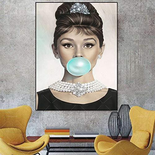 KWzEQ Imprimir en Lienzo Actrices Famosas Fotos Carteles y decoración del hogar para Sala de estar45x60cmPintura sin Marco