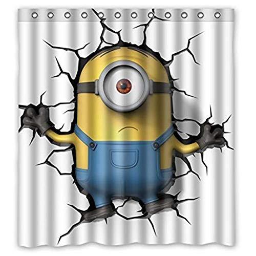 WENHUI Badezimmer Duschvorhänge Minion Pattern Niedlichen Duschvorhang Umweltfre&liche wasserdichte Stoff Badezimmer Vorhang für Kinder Dekor