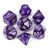 Purple RPG Dice - Full Polyhedral Set - Pearl Effect