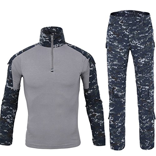 QCHENG Taktisches Hemd Militärhemd und Hose Airsoft Männer Langarm BDU Combat Camouflage Camo Kampf T-Shirt für Tactical Paintball Uniform Armee (Navy blau XL)