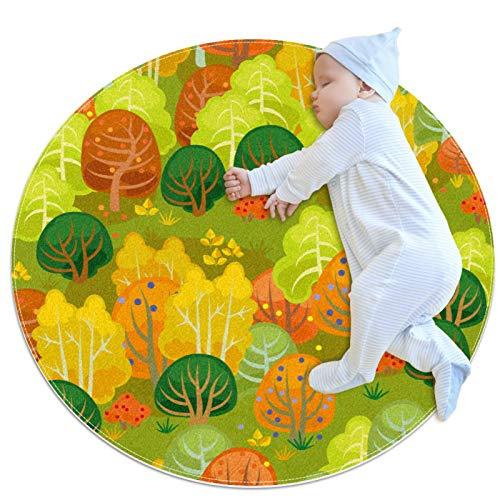 Haminaya Round kids rug round carpet Non slip round area rugs washable floor mat,Autumn Leaves Tree Pattern