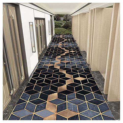 SCAHUN Alfombra De Pasillo Azul Geométrica Antideslizante Alfombra del Corredor Moderna Lavable FÁCIL Limpieza Alfombra Cocina Pasillera Salón Escalera Entrada Multiuso Alfombras De Área,Blue-0.8×9m