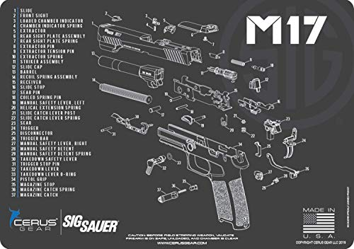 EDOG SIG M17 Cerus Gear Schematic (Exploded View) Heavy Duty Pistol Cleaning 12x17 Padded Gun-Work Surface Protector Mat Solvent & Oil Resistant