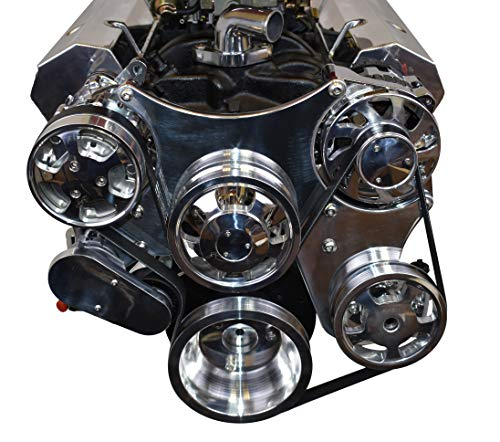A-Team Performance Serpentine Front Drive System Compatible with Chevrolet SBC Small Block Chevy Chrome