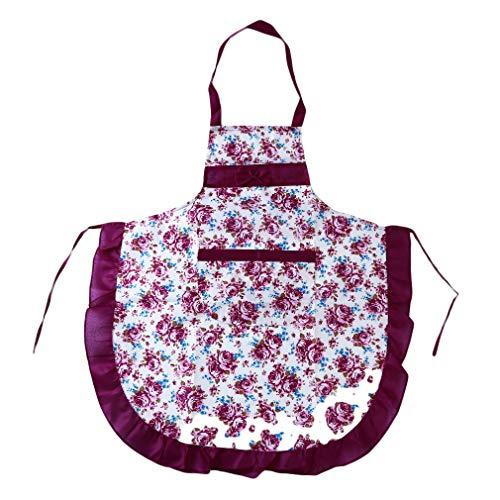 unknow Huaicheng Rose Flower Cooking Schürze, Küche Backschürze verstellbare Gürtel Arbeitskleidung für Garten Restaurant,lila