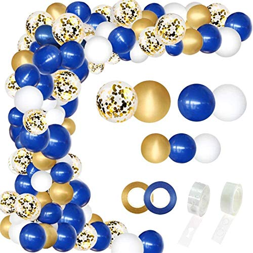 WUCHENG 146 Blue Balloon Garland Kits, Blue And White Pearlescent Latex Balloons, Gold Confetti, Metal Balloon Arch, With 16-foot-long Strips And Glue, Used For Birthday, Wedding, Graduation Party, Cl
