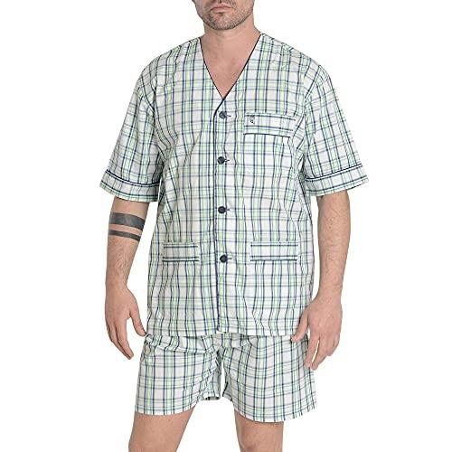 El Búho Nocturno - Pijama Hombre Corto Judo Popelín Cuadros Marino 100% algodón Talla 3 (M)