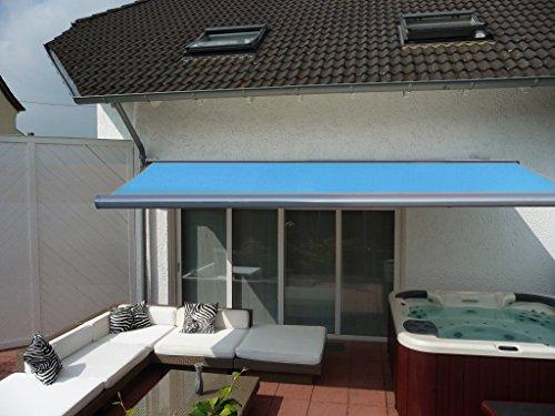 Prime Tech Elektrische Kassettenmarkise/Gelenkarm-Markise 500 x 300 cm/Gehäuse anthrazit-grau/Tuch hell-blau / #583