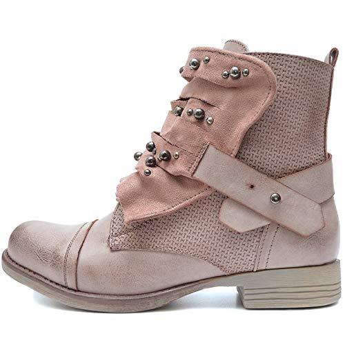 Vain Secrets Damen Boots Stiefeletten in Used Look Nieten in Silber mit Reißverschluss und Schnürsenkeln (36, Altrosa)