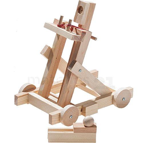 matches21 Mittelalterliches Katapult Wurfschleuder mit Fahrwerk als Holz Bausatz Bastelset Werkset für Kinder ab 11 Jahren