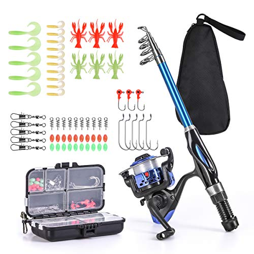 Leo Light Weight Kids Fishing Pole Telescopic Fishing Rod and Reel Combos with Full Kits Lure Case and Carry Bag for Youth Fishing and Beginner (15OCM Rod and Reel Combos with Full Kits and Carry Bag)