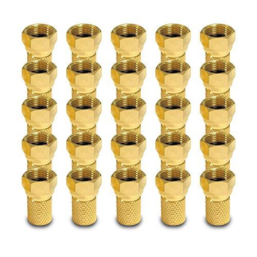 Sat F Stecker breiter Mutter Dichtring 25x F-Stecker 7 - 7,5 mm Koax Kabel Koaxialkabel F-Verbinder Verbinder Kupplung Buchse gold 4K ARLI 25 Stück