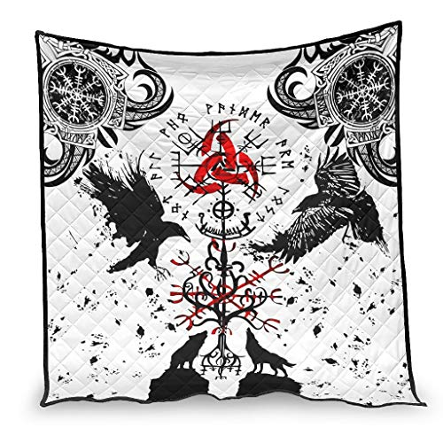 Josephion Colcha de verano Viking Crow Ravens Wolf de lujo cálida manta para oficina blanco 130 x 150 cm